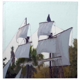 船の抽象的な略奪のmuskateerの海賊帆 ナプキンクロス