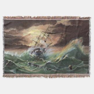 船の絵画によって編まれるブランケット スローブランケット