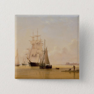 船の絵画(キャンバスの油) 2 缶バッジ