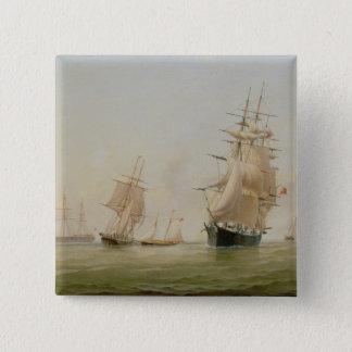 船の絵画(キャンバスの油) 5.1CM 正方形バッジ