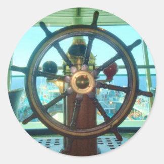船の車輪のステッカー ラウンドシール