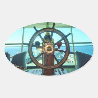 船の車輪のステッカー 楕円形シール
