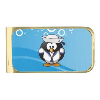 船員のペンギン水背景 金色 マネークリップ
