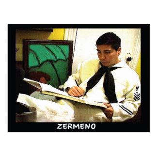 船員のユニフォームのZermenoのスケッチの郵便はがき ポストカード