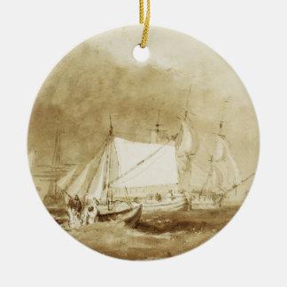 船積み場面、漁師と、c.1815-20 (ブラシ及び セラミックオーナメント