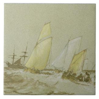 船積み、c.1828-30 (ペン、ブラシ及び茶色インクのbodyc タイル