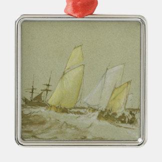 船積み、c.1828-30 (ペン、ブラシ及び茶色インクのbodyc メタルオーナメント