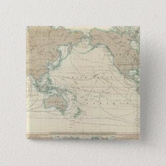 船舶用運河の世界地図 5.1CM 正方形バッジ