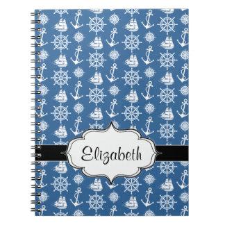 船長航海のな青および白いの船員 ノートブック