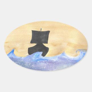 船 楕円形シール