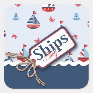 船Ahoy! 正方形のステッカー2 スクエアシール