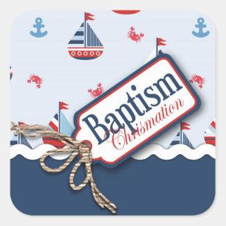 船Ahoy! 洗礼の正方形のステッカー スクエアシール
