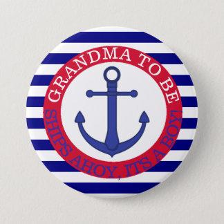船Ahoy、男の子のベビーシャワーボタン 7.6cm 丸型バッジ