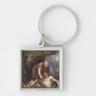 良きサマリア人、c.1751-52 (キャンバスの油) キーホルダー
