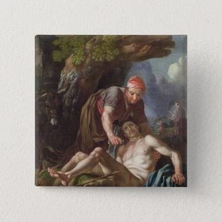 良きサマリア人、c.1751-52 (キャンバスの油) 5.1cm 正方形バッジ