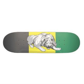 色によって汚されるDek (ジャマイカ色)のライオン 20.6cm スケートボードデッキ