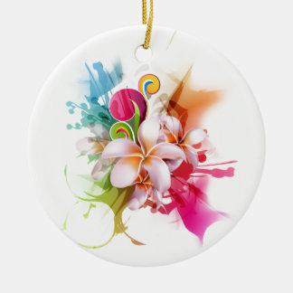 色のしぶきのプルメリアのハワイアンの花 セラミックオーナメント