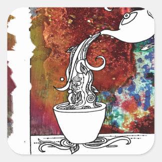 色のしぶきの茶! 私を魔法のお茶注いで下さい! スクエアシール