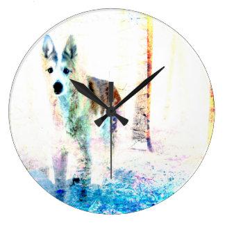 色のオオカミ ラージ壁時計