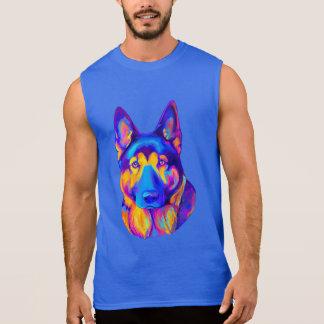 色のジャーマン・シェパード犬 袖なしシャツ