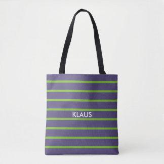 色のストライプだけ-暗い薄紫 + あなたのbackgr. トートバッグ