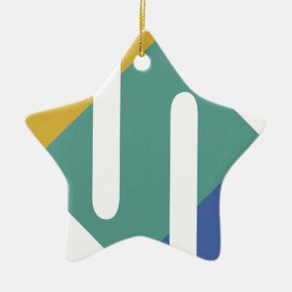 色のデザイン 陶器製星型オーナメント