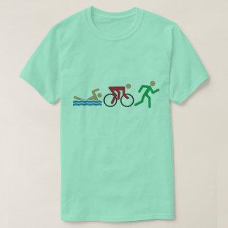 色のトライアスロンのロゴアイコン Tシャツ