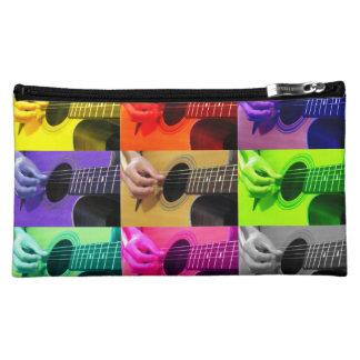 色のハンド・バッグ-クラッチのギターのコラージュ コスメティックバッグ