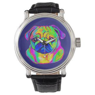 色のパグ 腕時計