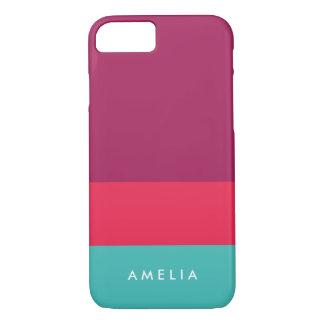 色のブロックの紫色のピンクのターコイズを個人化して下さい iPhone 8/7ケース