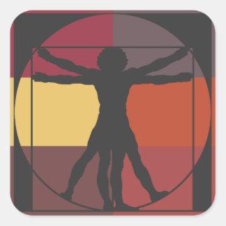 色のブロックのVitruvianの人 スクエアシール