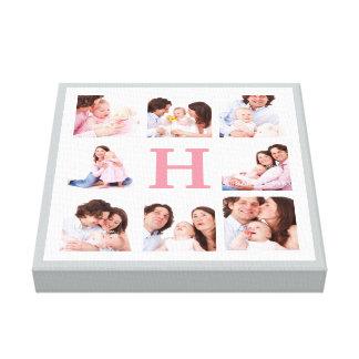 色のモノグラムの家族写真のコラージュ キャンバスプリント