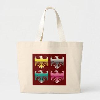 色の光沢のあるクロムイーグルスは芸術を方向を変えます ラージトートバッグ