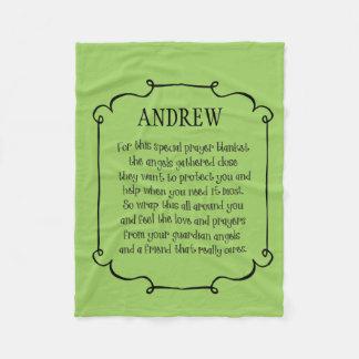 色の名前入りなプリントの祈りの言葉毛布 フリースブランケット