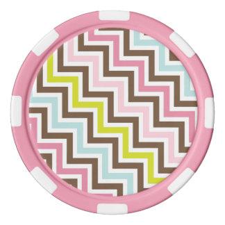 色の斜めのジグザグ形のシェブロンパターン ポーカーチップ