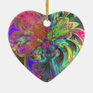 色の明るい破烈-サケ及びインディゴDeva 陶器製ハート型オーナメント