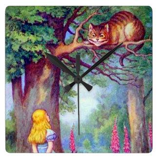 色の柱時計のアリス及びチェシャー猫 スクエア壁時計