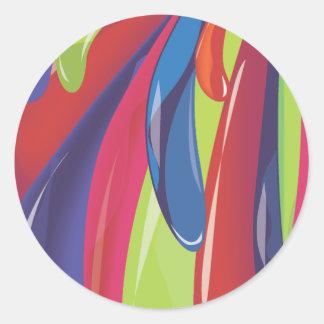 色の気球 ラウンドシール