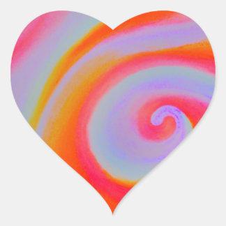 色の渦巻の絵画 ハートシール