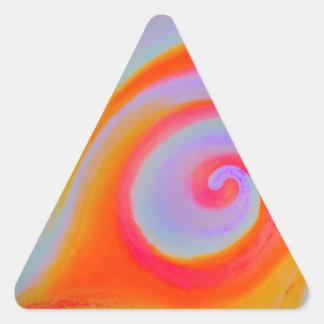 色の渦巻の絵画 三角形シール