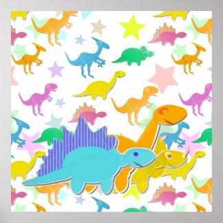 色の漫画の恐竜ポスター ポスター