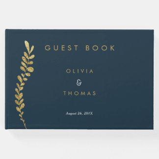 色の編集可能模造のな金ぱくの結婚式の来客名簿 ゲストブック