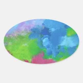 色の美しく、絵画そっくり、嬉しい混合物 楕円形シール