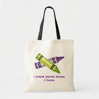 色の若者の心の美術教師の教授クレヨンのバッグ トートバッグ