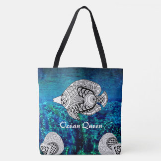 色の落書きのデザインの熱帯魚の海のウォーターバッグ トートバッグ
