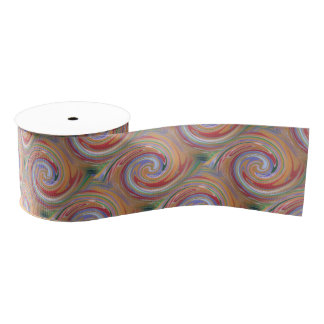 色の虹の渦巻くパターン グログランリボン