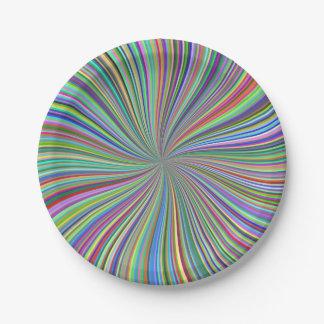 色の螺線形の光学芸術のクレヨン箱 ペーパープレート