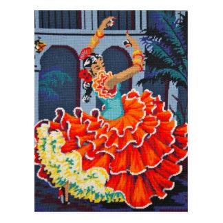 色の郵便はがきのフラメンコのダンサー ポストカード