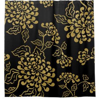 色の金花柄 シャワーカーテン