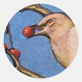 色の鉛筆のマネシツグミ ラウンドシール